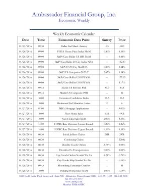 Weekly Economic Calendar Template
