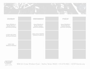 Weekly Fitness Calendar Template
