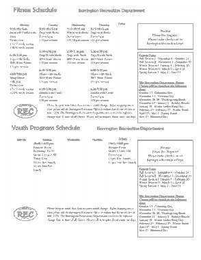 Weekly Fitness Schedule Calendar Template