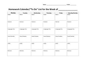 Weekly Homework Calendar Sample Template