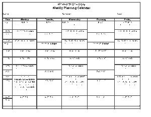 Weekly Planning Calendar Printable Template
