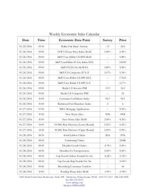 Weekly Sales Calendar Template