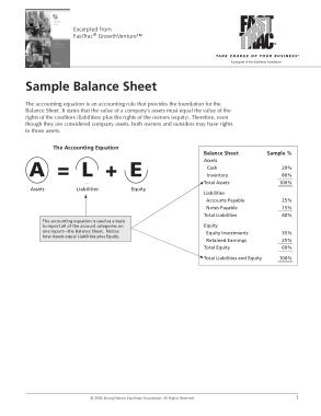 Company Sample Balance Sheet Template
