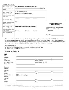 Financial Disclosure Statement Template
