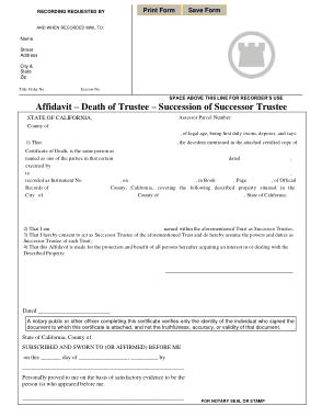 Free Download PDF Books, Affidavit of Death of Trustee Succession of Successor Trustee Template