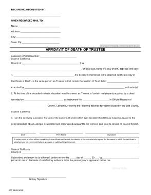 Free Download PDF Books, Affidavit of Death of Trustee Template
