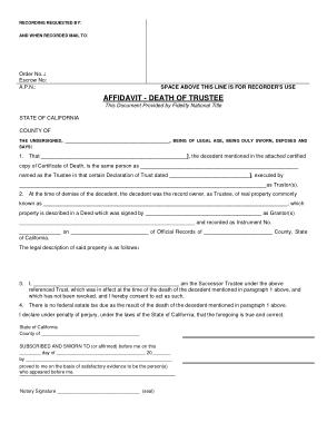 Free Download PDF Books, Basic Affidavit Death of Trustee Template