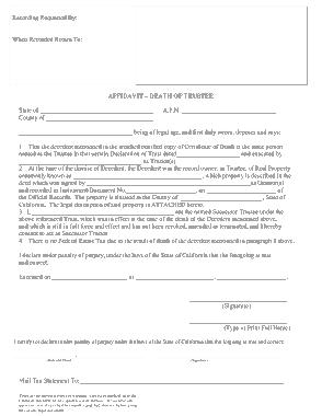 Free Download PDF Books, Standard Affidavit Death of Trustee Template