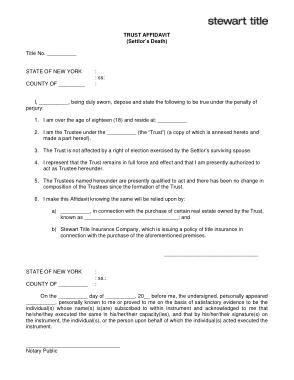 Free Download PDF Books, Trust Affidavit Settlors Death Template