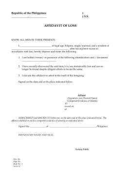 Free Download PDF Books, General Affidavit of Loss Blank Sample Template