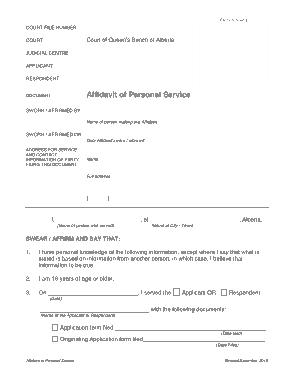 Free Download PDF Books, Personal Service Affidavit Form Template