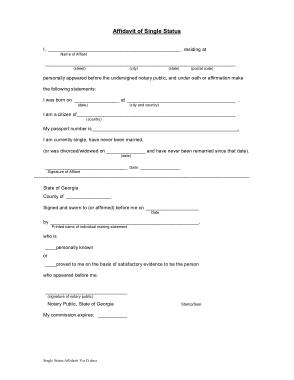 Affidavit of Single Status Template