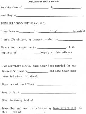 Free Download PDF Books, Standard Affidavit of Single Status Template