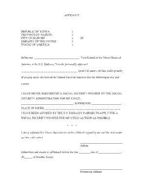 Free Download PDF Books, Affidavit Social Security Sample Template
