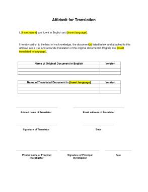 Free Download PDF Books, Affidavit for Translation Template