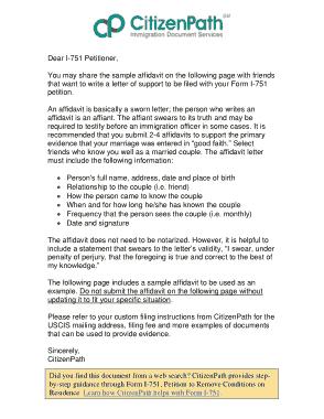 Free Download PDF Books, Affidavit Letter For Immigration Template
