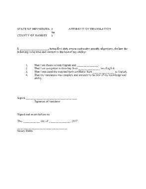 Free Download PDF Books, Basic Affidavit of Translation Template