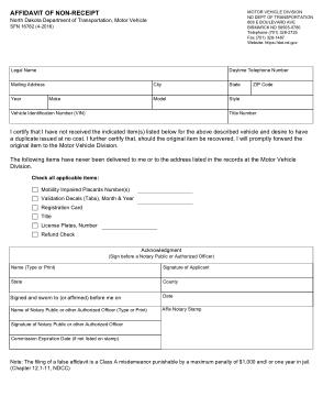 Sample Affidavit of Non Receipt Template