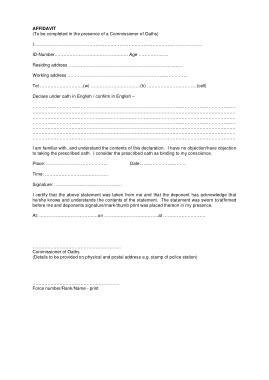 Sample Affidavit Statement Form Template