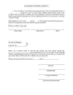 Sample Expansion Petition Affidavit Template