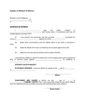 Free Download PDF Books, Affidavit Witness Letter Template