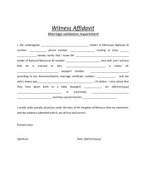 Free Download PDF Books, Marriage Witness Affidavit Form Template
