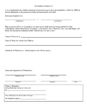Witness Statement Affidavit Form Template