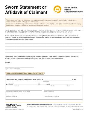 Free Download PDF Books, Affidavit of Sworn Statement of Claimant Template