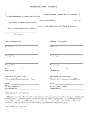 Free Download PDF Books, Affidavit Sworn Statement Template