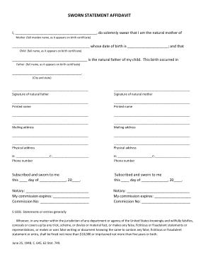 Free Download PDF Books, Sworn Statement Affidavit Template