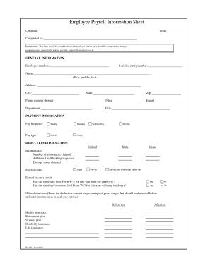 Free Download PDF Books, Employee Payroll Information Sheet Template
