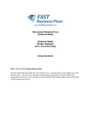 Free Download PDF Books, Restaurant Business Plan Template