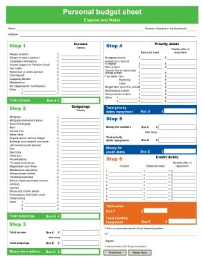 Free Download PDF Books, Free Personal Budget Sheet Template