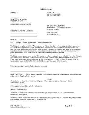 Free Download PDF Books, Bid Project Proposal Template