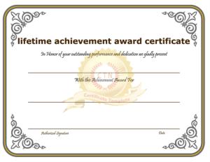 Free Download PDF Books, Lifetime Achievement Award Certificate Template