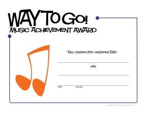 Free Download PDF Books, Music Achievement Award Certificate Template