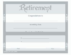 Retirement Congratulation Certificate Template