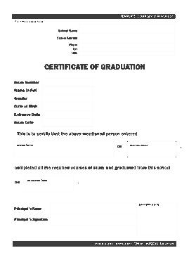 Free Download PDF Books, Sample Graduation Certificate Template
