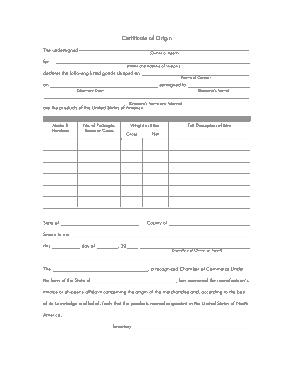 Free Download PDF Books, Generic Origin Certificate Template