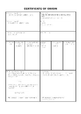 Simple Origin Certificate Template