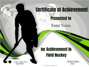 Free Download PDF Books, Achievement in Field Hockey Certificate Template