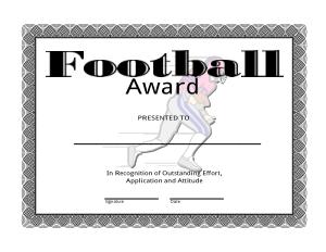 Free Download PDF Books, Football Award Certificate Template