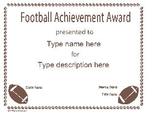 Free Download PDF Books, Football Certificate Sample Template