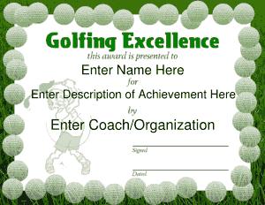 Golf Sport Certificate Template