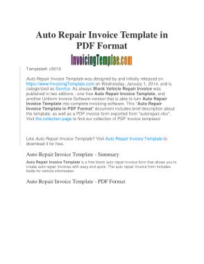 Free Download PDF Books, Auto Repair Invoice Service Quotation Template