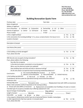 Free Download PDF Books, Builder Renovation Quotation Form Template