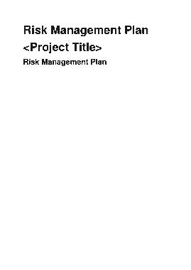 Free Download PDF Books, Basic Risk Management Plan Template