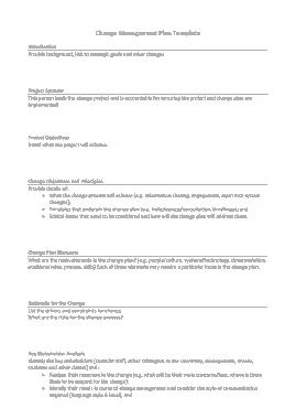 Project Change Management Plan Template