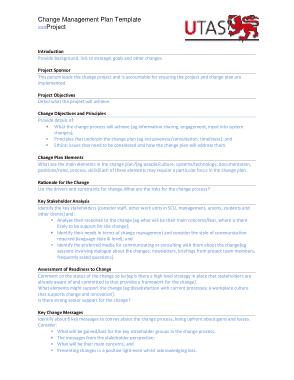 Free Download PDF Books, Editabe UTAS Change Management Plan Template