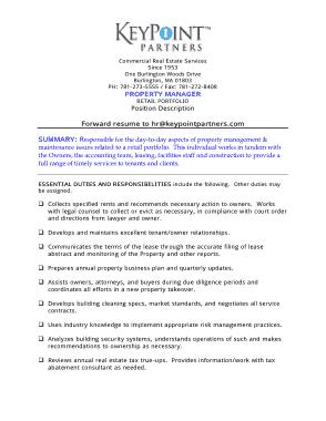 Free Download PDF Books, Property Management Job Description For Resume Template